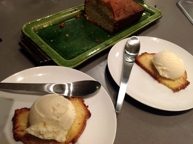 Homemade calvados ice cream, orange pound cake