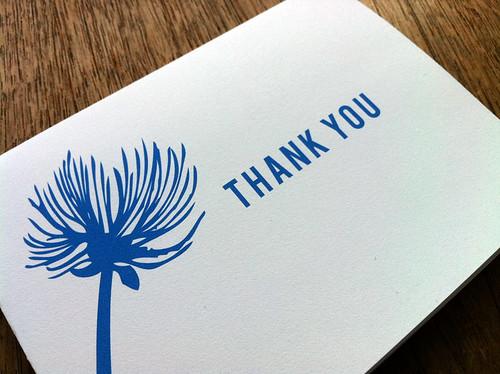 Printable Blue Thank You Card