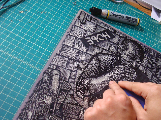 Cutting the Linoleum for the American Food Print Portfolio
