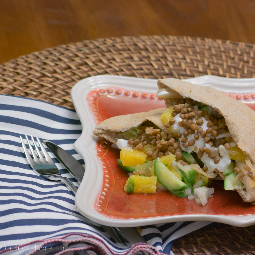 Lentil and Sweet Onion Pitas | www.infinebalance.com #lentil #vegetarian