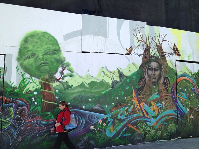Scenic graffiti mural