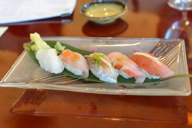 Sushi kinme dai, yokowa, nama tako, aji, hiramasa