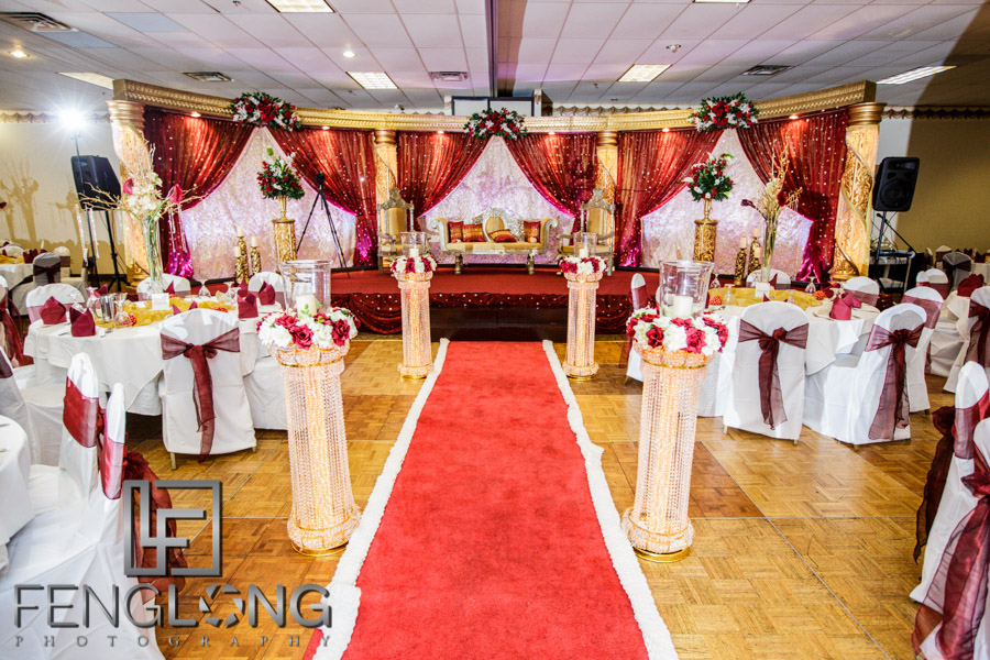 Ashiana banquet hall decorated for Indian wedding