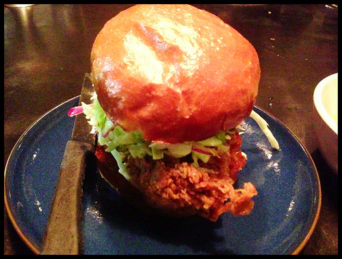 Fried Chicken Sandwich, Spicy B&B Pickle Slaw, Rooster Aioli