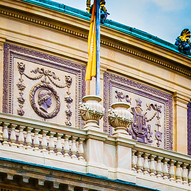 Rudolfinum Detail. Jan Palach Square. Prague