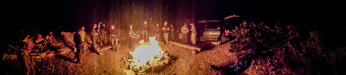 Last night dance party around the bonfire