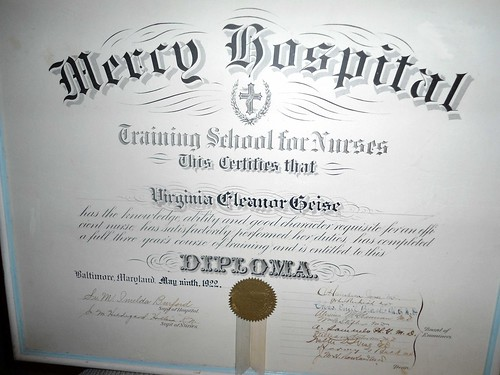 Mercy Hospital Training School for Nurses Diploma 1922 Baltimore MD