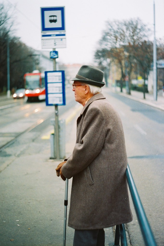 Praktica BC1 - Elderly Man at Tram Stop