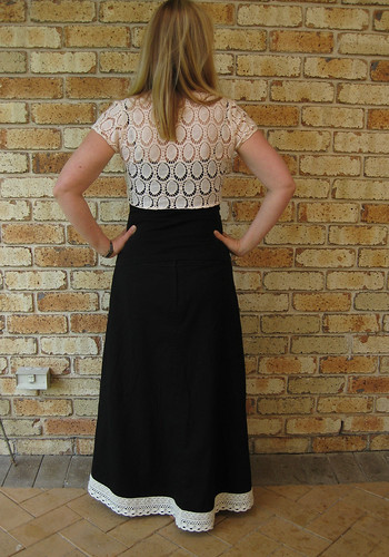 Black maxi and lace shrug, back