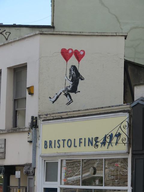 New graffiti on Park Row above Bristol Fine Art - could it be Banksy?