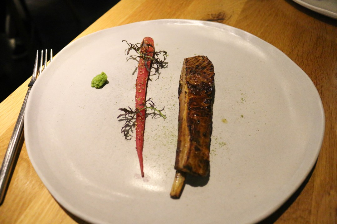 Lamb rib, red miso, lime kosho and heirloom carrot