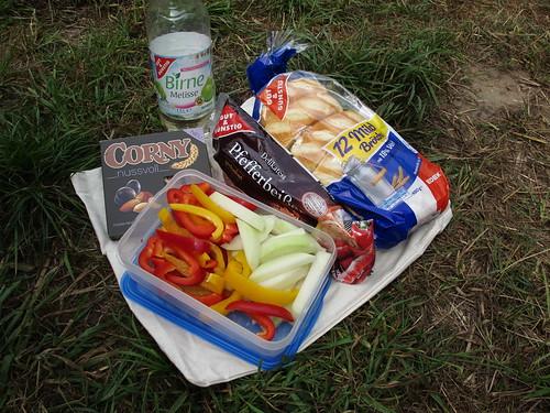 Picknick bei einer Pause auf der Kanufahrt von Schöttmar nach Herford