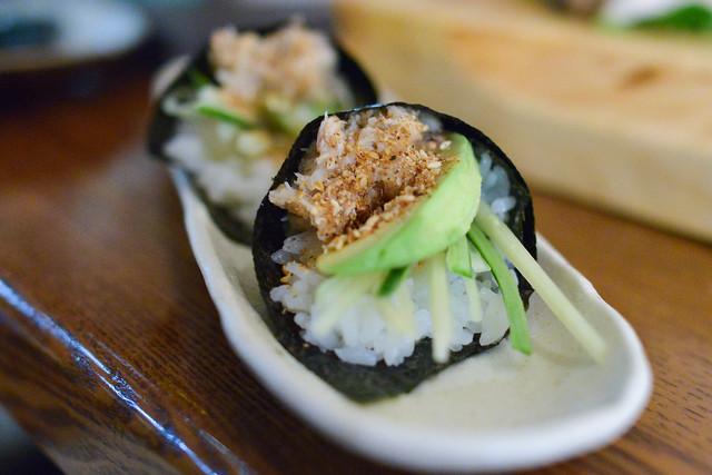 Blue Crab Hand Roll cucumber, avocado, sesame