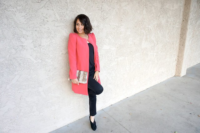 Pink collarless coat outfit