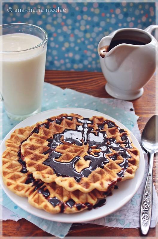 orange waffles with chocolate