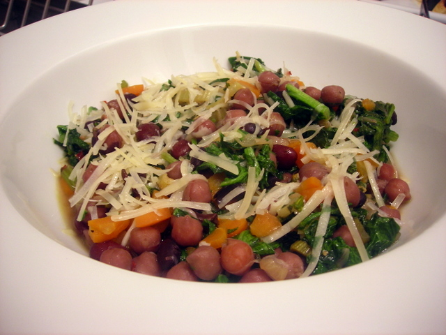 Broccoli rabe, with chickpeas and heirloom beans