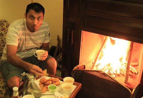 eating by fireplace