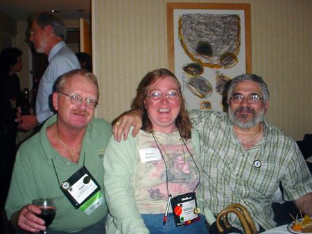 Dan Voss, Brenda Huettner, and Fabian Vais at the AccessAbility SIG mixer.