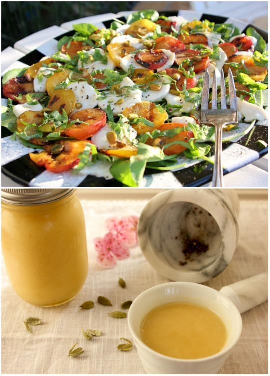 Grilled Plum & Mozzarella Collage
