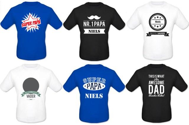 Vaderdag cadeau t-shirt gepersonaliseerd winactie