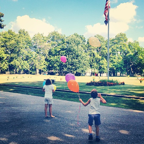Letting balloons go for Pappy. #graveside #memories