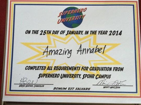 Amazing Annabel's diploma