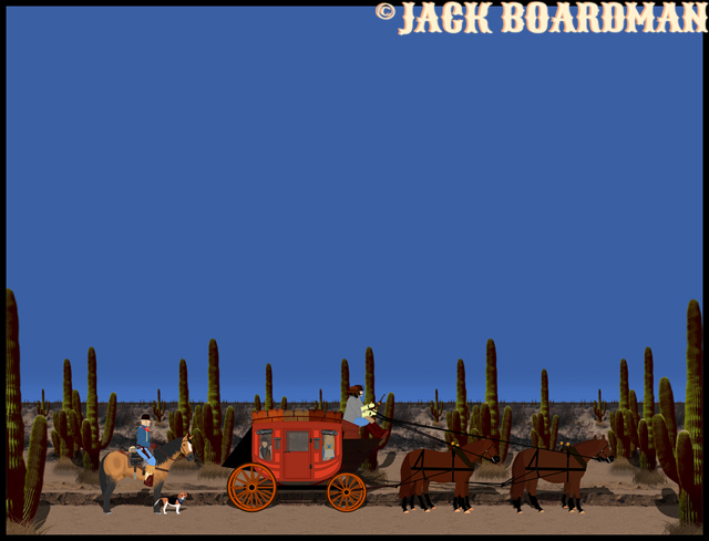 Boomer, Daisy, Pal and the stagecoach were on the trail