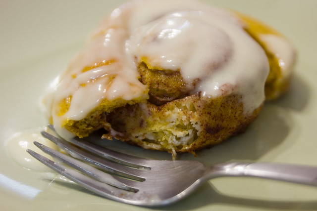 Pumpkin Cinnamon Rolls with Orange Cream Cheese Icing