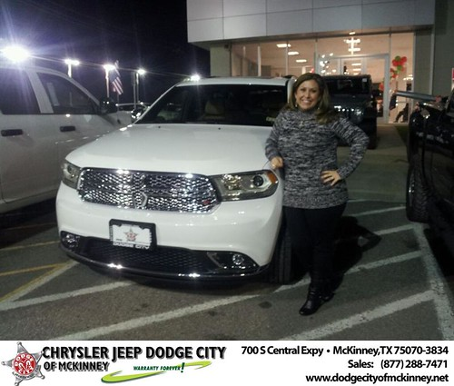 Thank you to Lesley Redding-Payne on your new 2014 #Dodge #Durango from Brent Villarreal and everyone at Dodge City of McKinney! #NewCar by Dodge City McKinney Texas