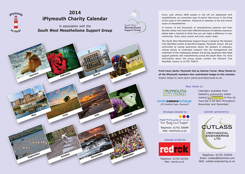 Backpage of the 2014 iPlymouth Charity Calendar.