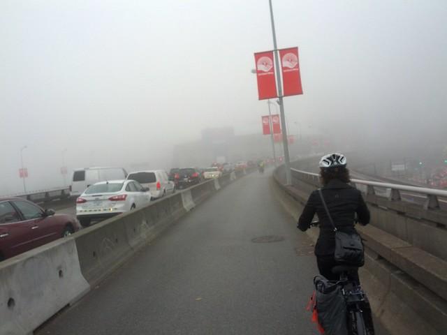 Biking into the mist