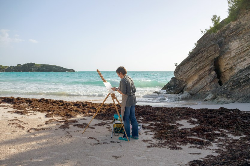 Painter on Horseshoe Bay Beach, Bermuda
