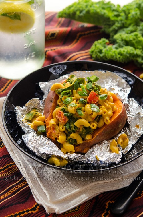 This recipe takes your loaded baked potato to a whole other level. Smoky Mac-stuffed Sweet Potatoes are delicious AND fun! Vegan, dairy-free
