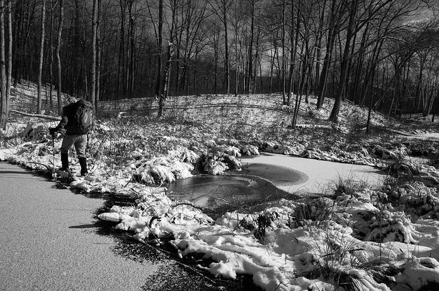 Dave crossing an upstream beaver dam