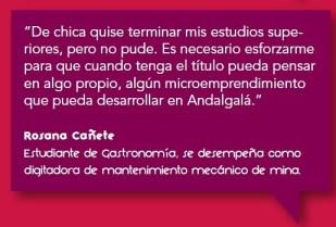 Programa de Estudios Terciarios. Rosana Cañete, Estudiante de Gastronomía, digitadora de mantenimiento mecánico.