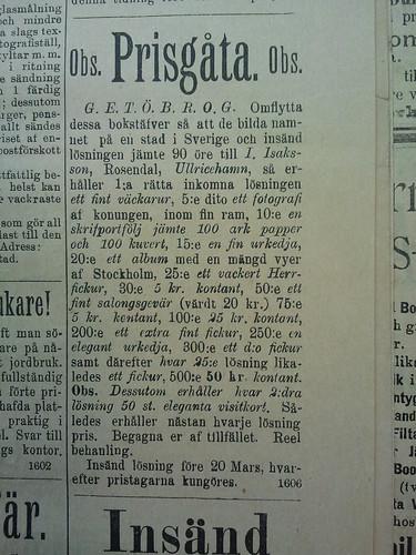 Prisgåta 1898 by Historiskt