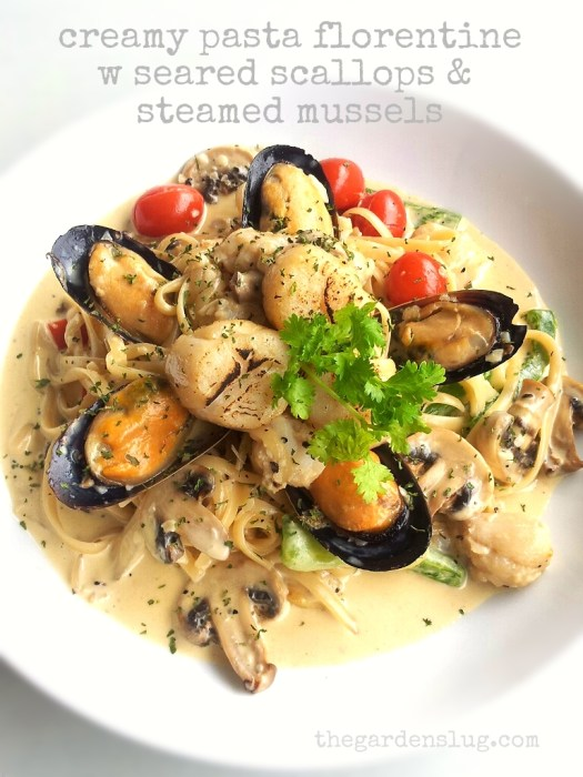 creamy pasta florentine w seared scallops & steamed mussels