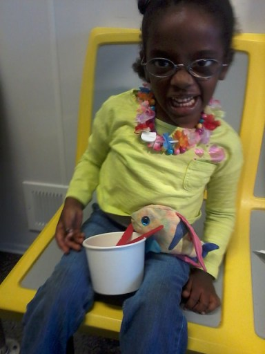 Sparkles eating dessert at Red Line Frozen Yogurt