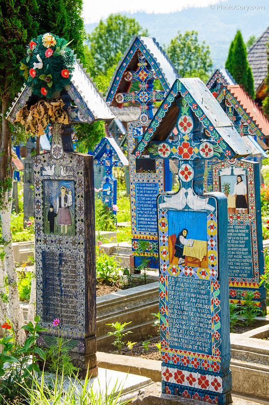 colored slabs at merry cemetery in Romania