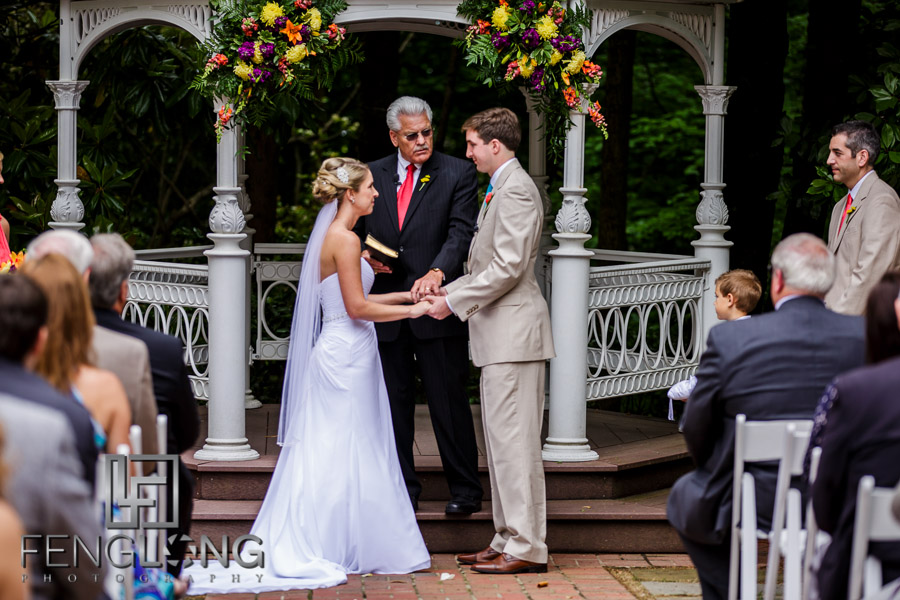 Bride and groom during wedding ceremony