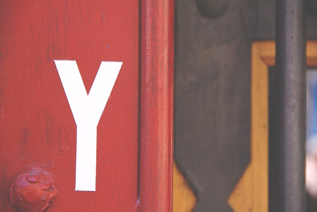 Letter Y typograpghy on red background