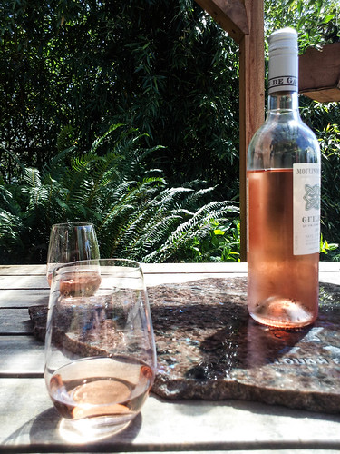 wine in the courtyard