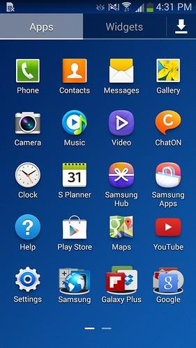 App tray ของ Samsung Galaxy Grand 2