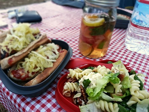 Grilled Bratwurst, Pasta salad, and White wine sangria by pipsyq