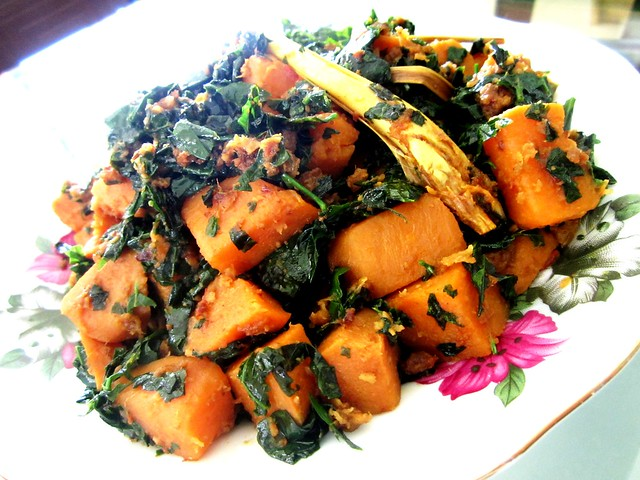 Cangkuk manis with sweet potatoes
