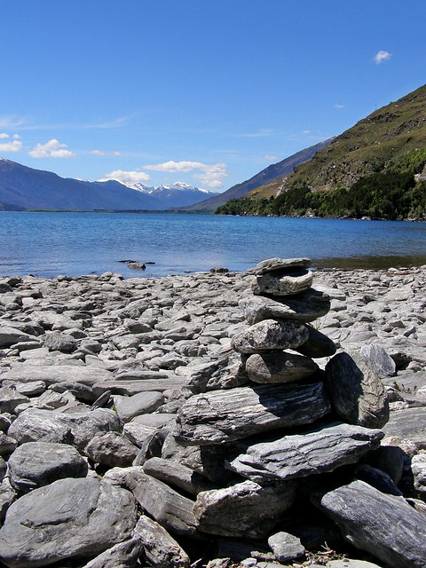Beach cairn in New Zealand