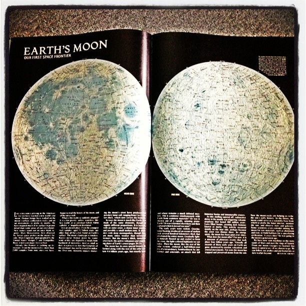 May 8 - the moon {as displayed on my old National Geographic Atlas} #photoaday #PhotoToaster #moon #atlas #nationalgeographic
