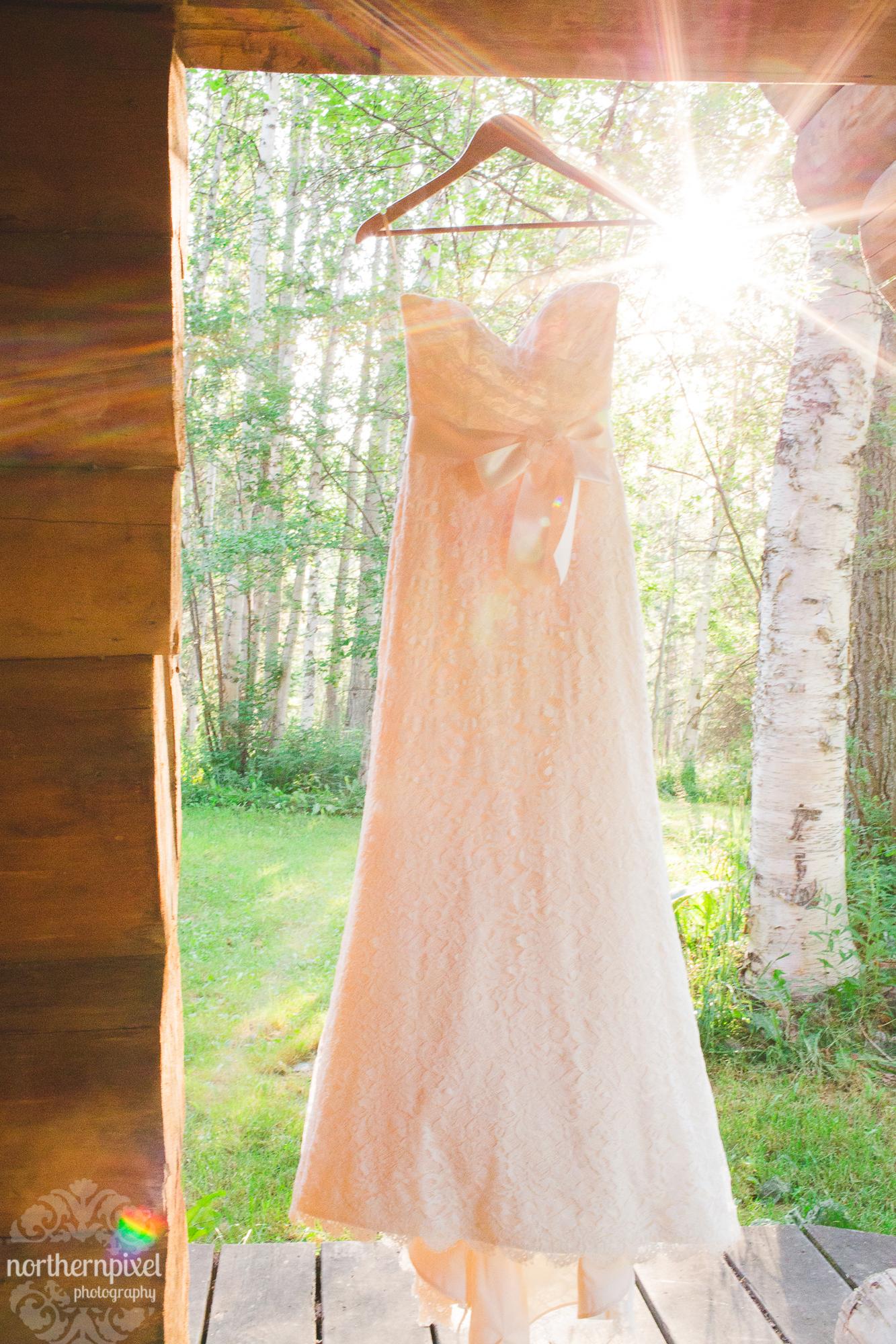 Wedding Dress Hanging Sunflare Prince George Wedding Photographer