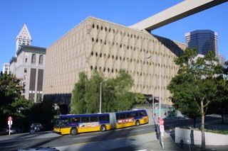 Bus going by the King County Administrative Building, 2001