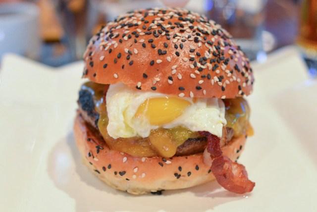 Farm Burger duck breast bacon, english sharp cheddar, fried egg